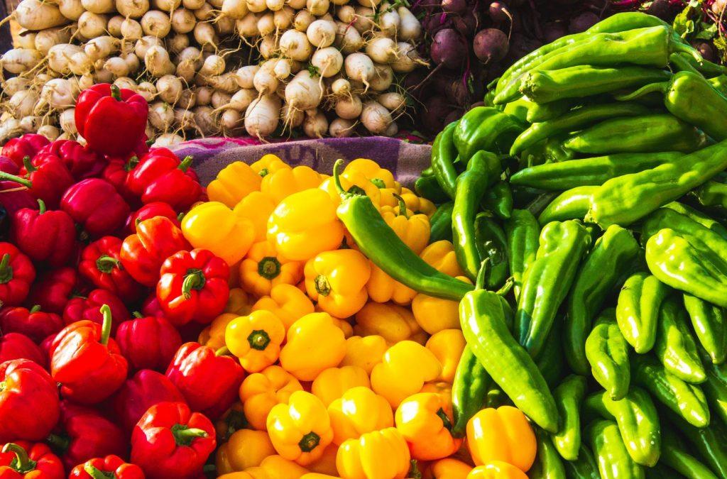 fresh natural display of vegetables