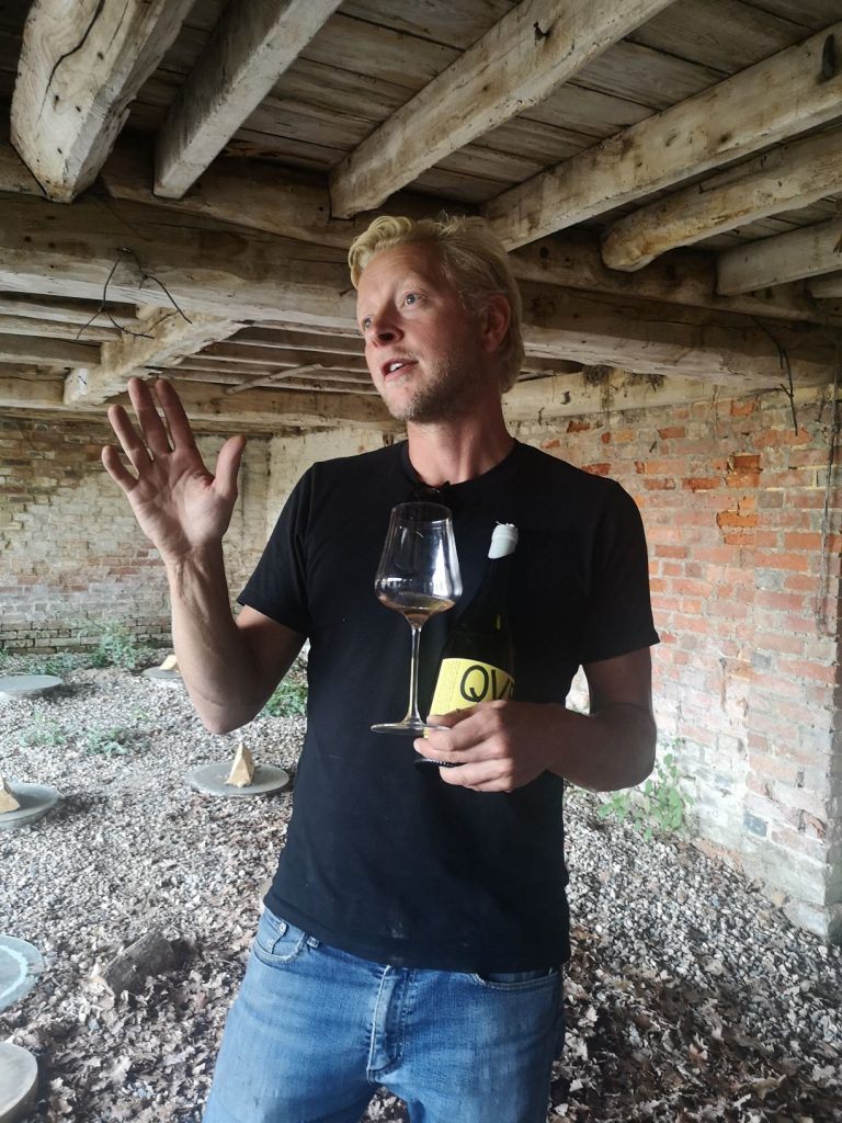 Ben Walgate, Winemaker at Tillingham Wines inside the oast where the Qvevri are buried in the soil