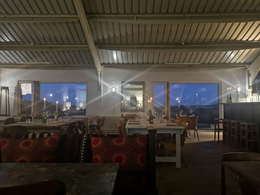 dining room at Tillingham wines at nighttime
