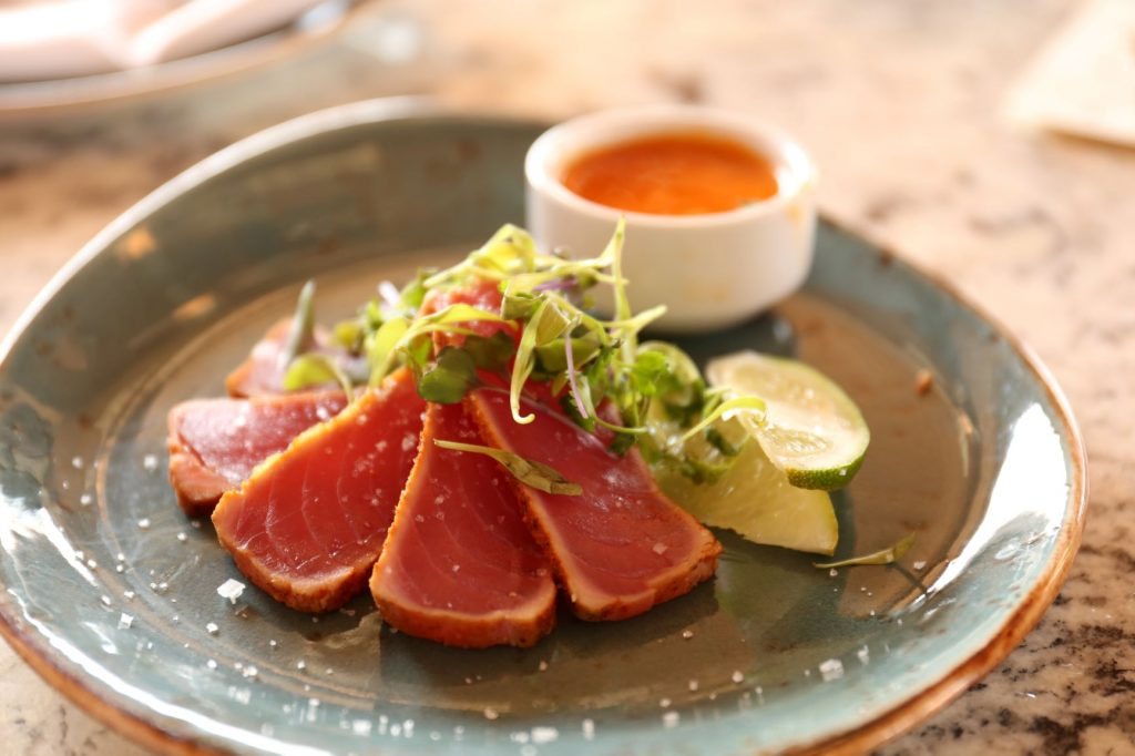 Tuna steak is a perfect pairing for Beaujolais wine