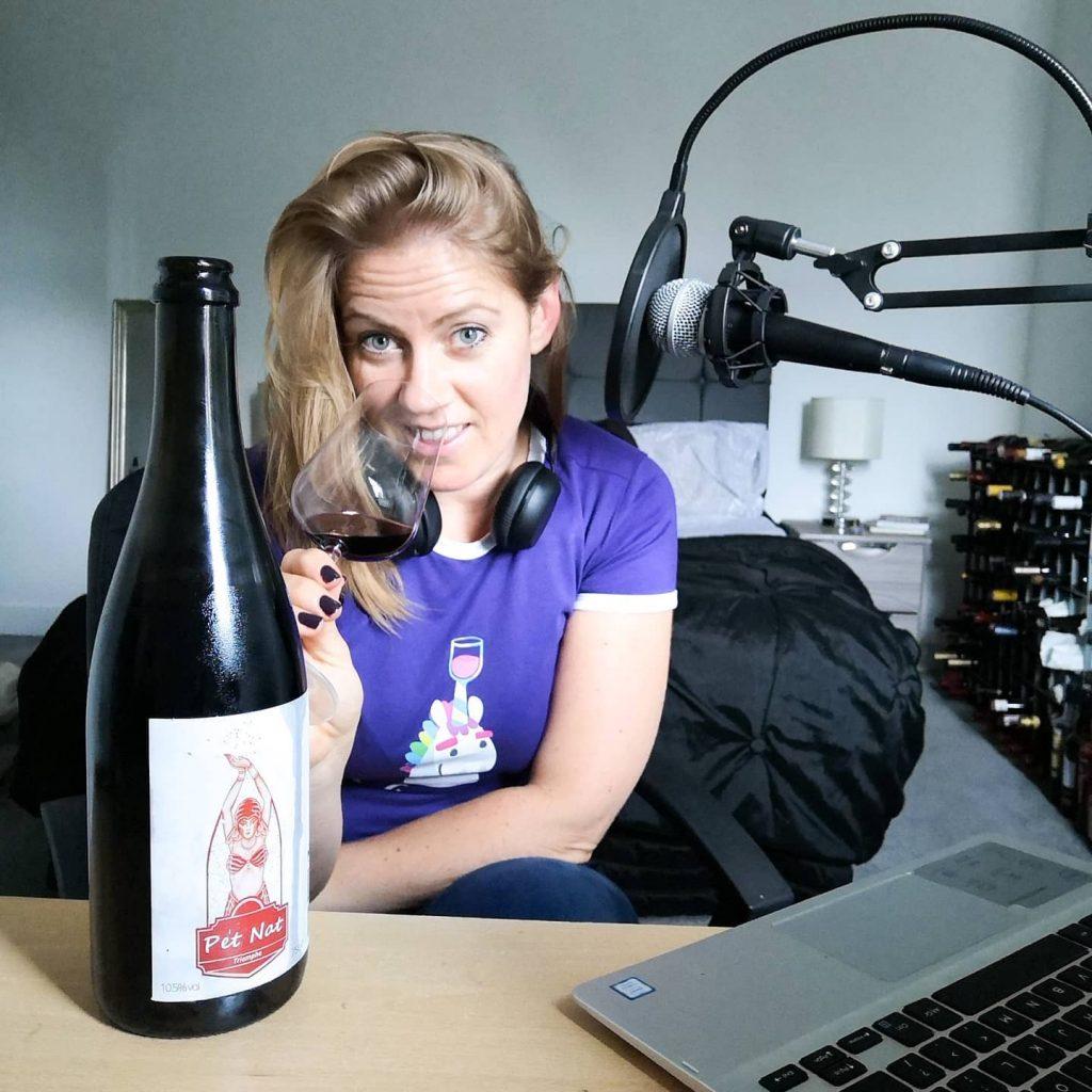 Janina recording Eat Sleep Wine Repeat Podcast episode